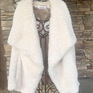 [Calvin Klein] faux fur vest warm cute cream 2X